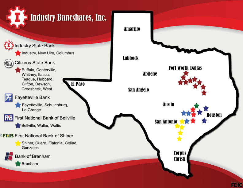 map of Texas showing with Industry Bancshares companies indicated